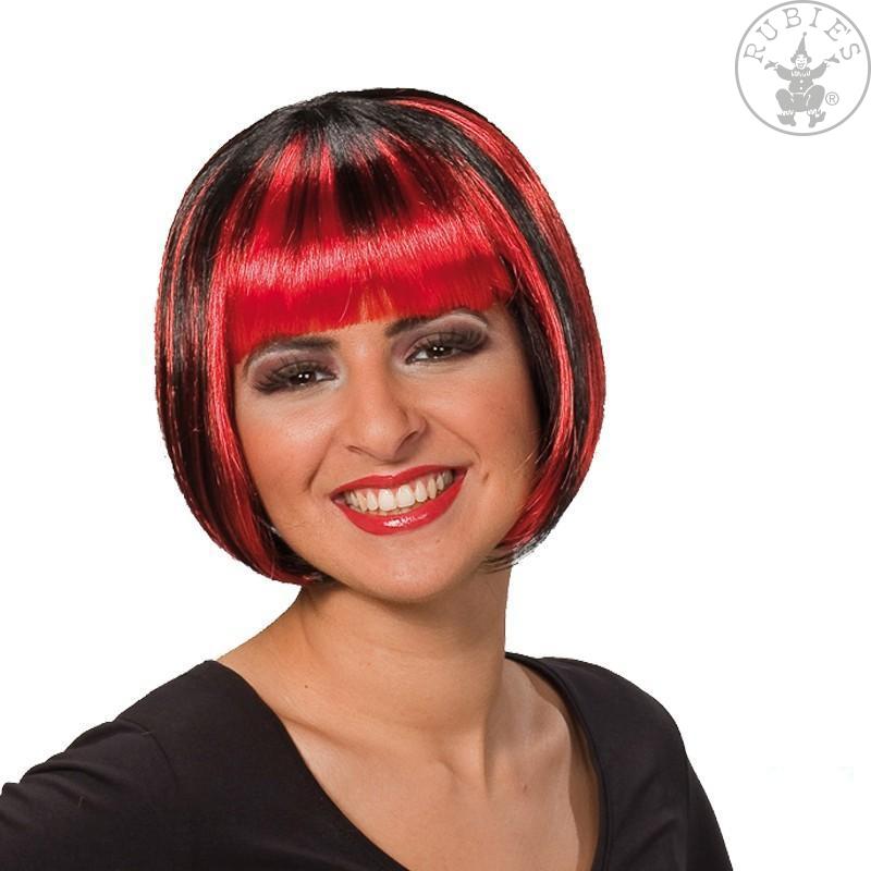 Paruky - Trixy červeno-černá - karnevalová paruka