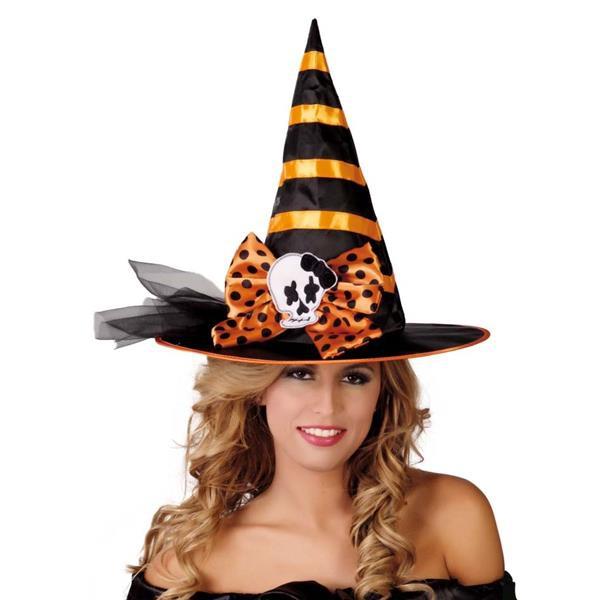 Klobouky a čepice - Černo-oranžový čarodějnický klobouk D