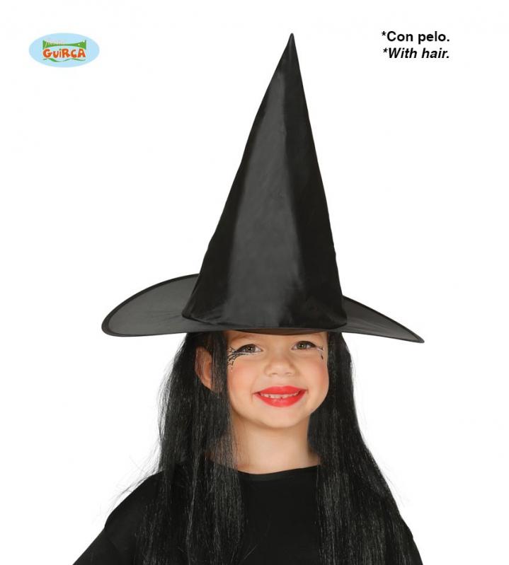 Klobouky a čepice - Klobouk čarodějnický dětský s vlasy