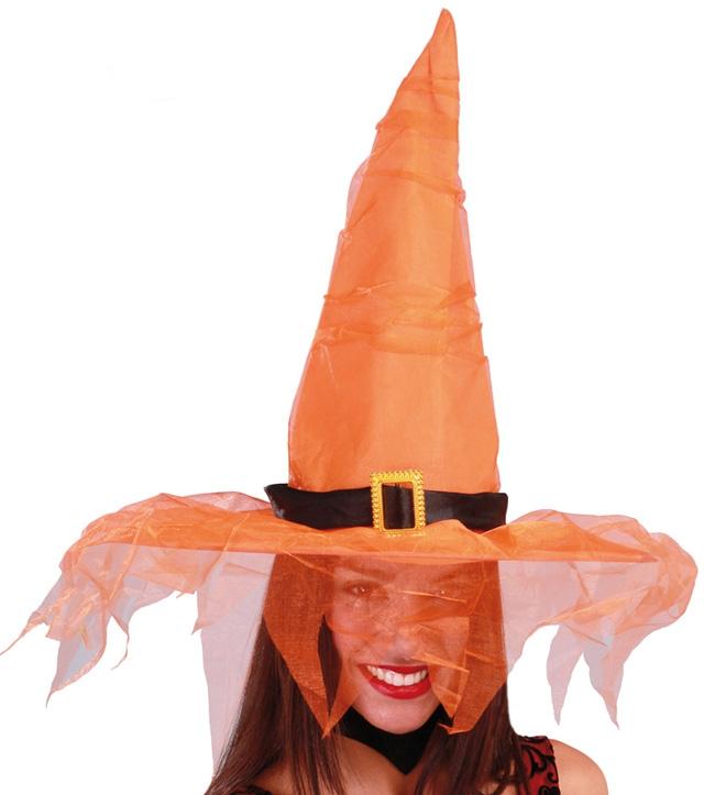 Klobouky a čepice - Oranžový klobouk s tylem