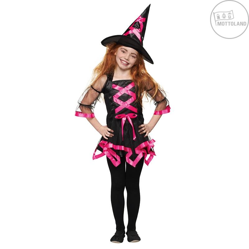 Kostýmy - Čarodějka s kloboukem neonově růžová s kloboukem X