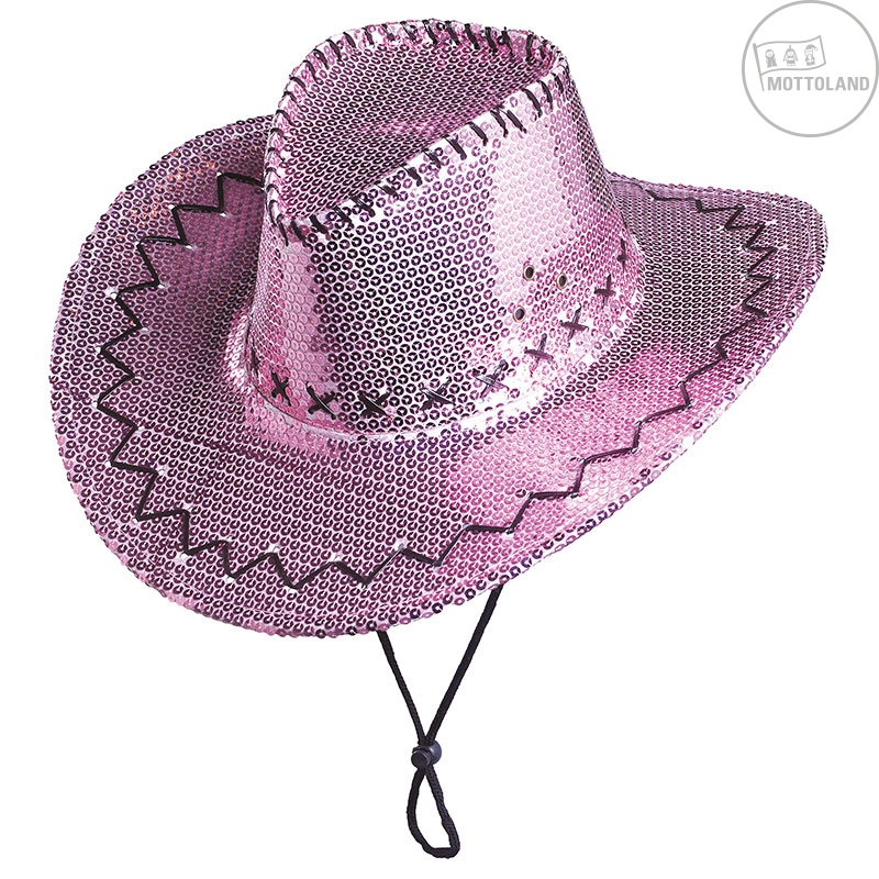 Klobouky a čepice - Flitrový klobouk kovbojský růžový