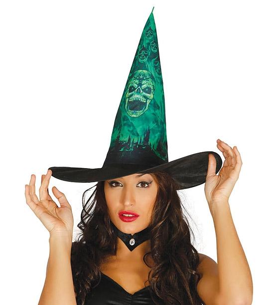 Klobouky a čepice - Dámský čarodějnický klobouk s potiskem