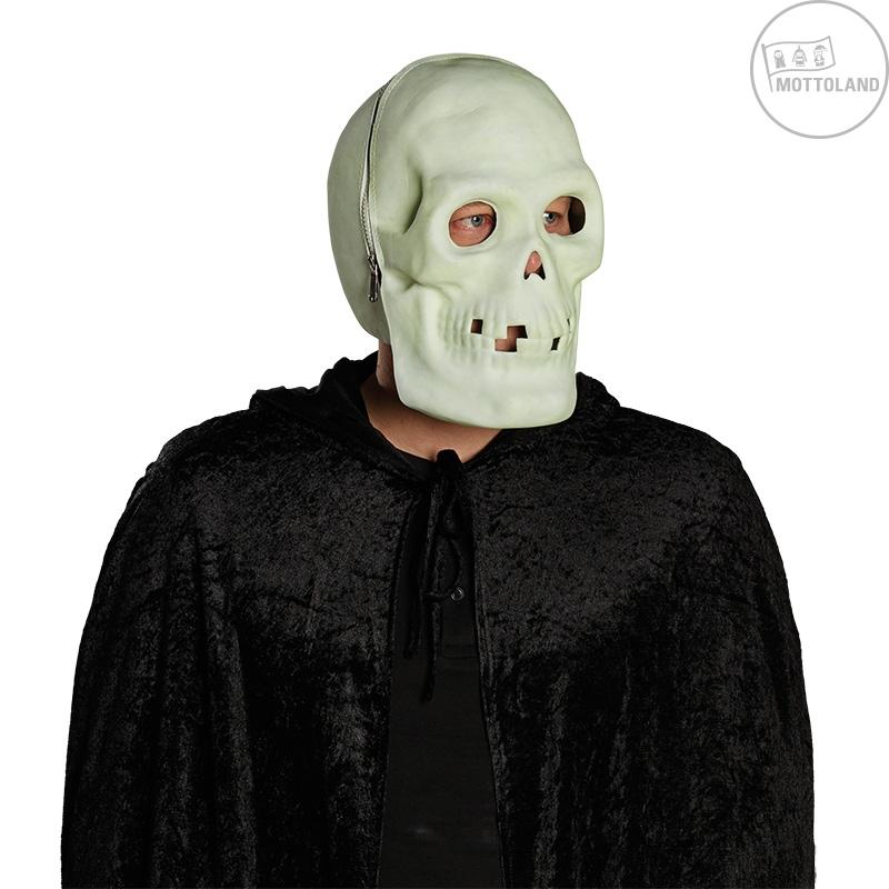 Karnevalové masky, latexové masky - Celohlavová maska fluoreskující - lebka