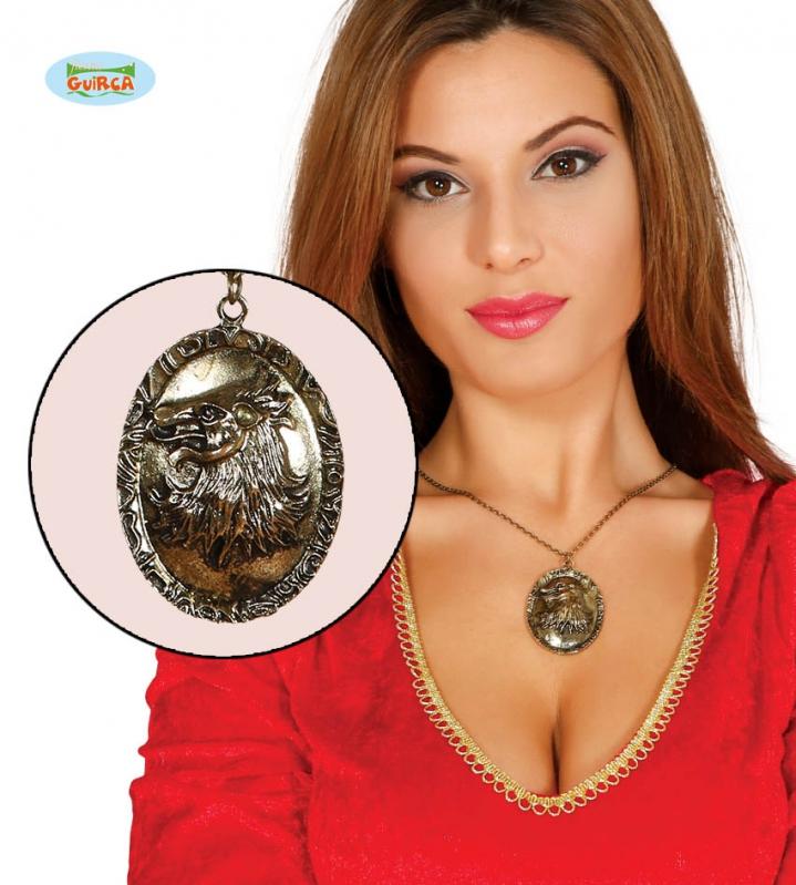 Doplňky - Náhrdelník VLK  zlatý 5 cm