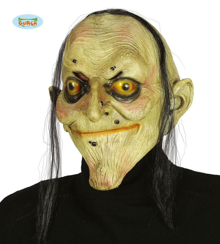 Karnevalové masky, latexové masky - Latexová maska čaroděnice s vlasy