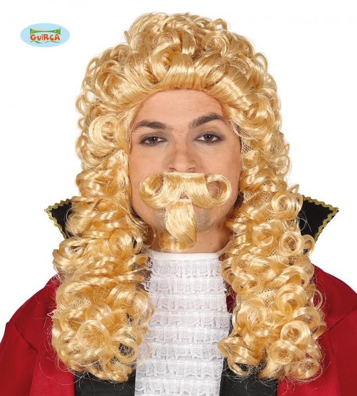 Paruky - Markýz - paruka s knírem blond