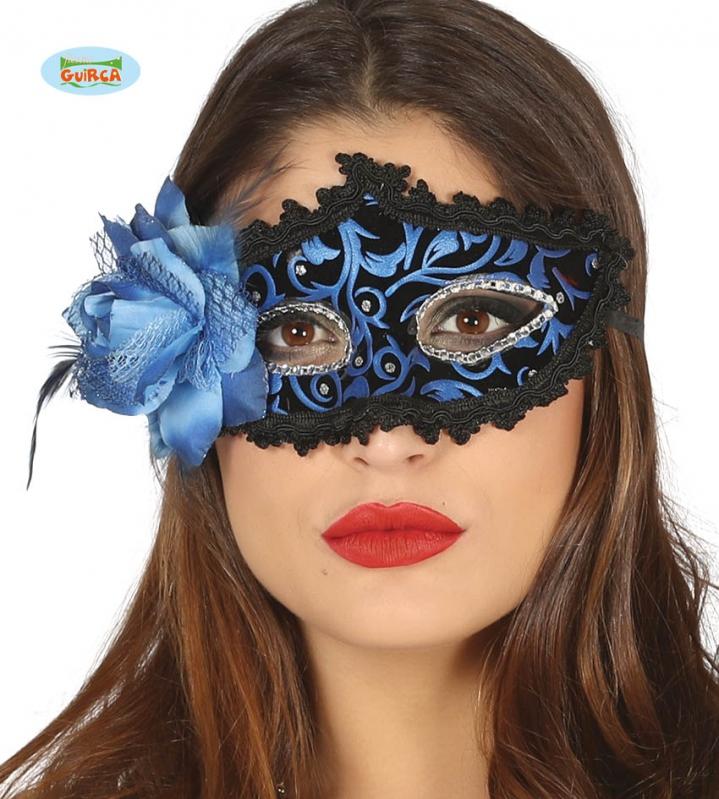 Masky - Modrá maska s peřím