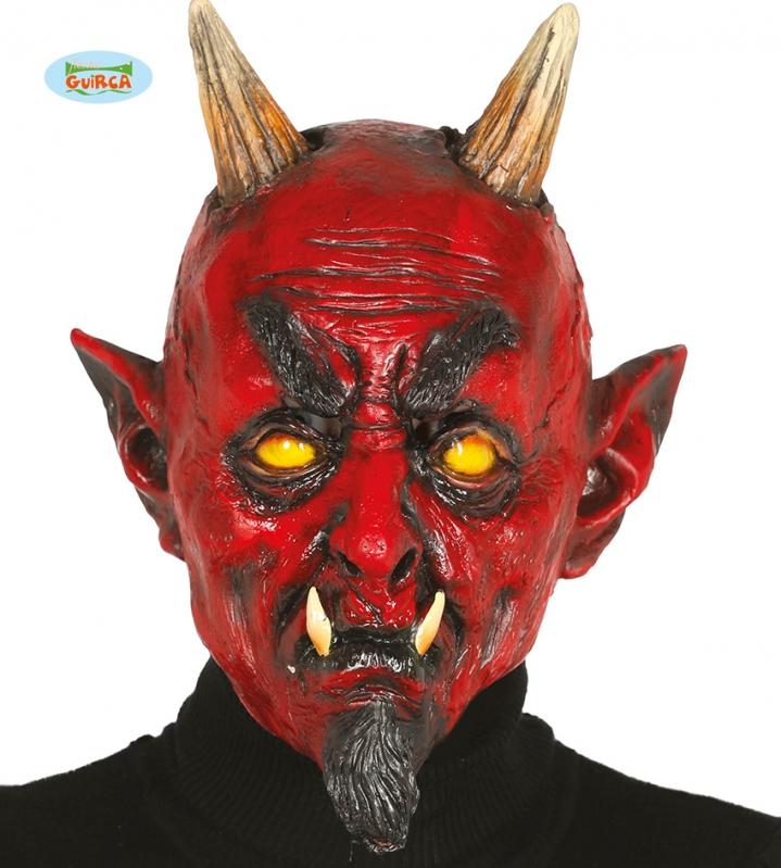 Masky - Latexová maska démon s rohy
