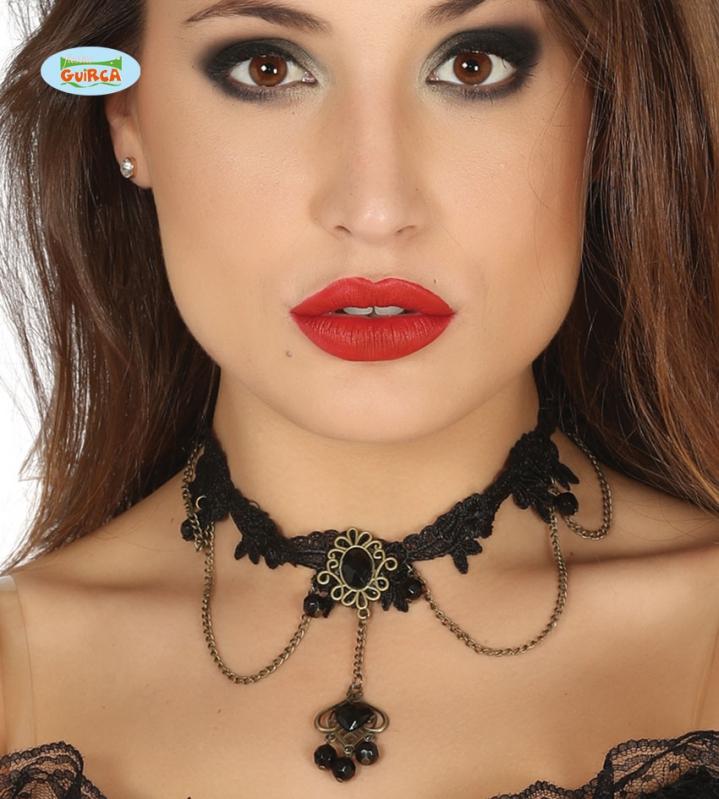 Doplňky - Černý náhrdelník s černým kamenem
