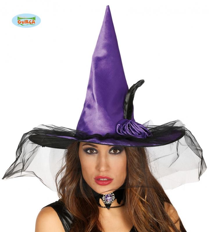 Klobouky a čepice - Čarodějnický klobouk fialový s ozdobou