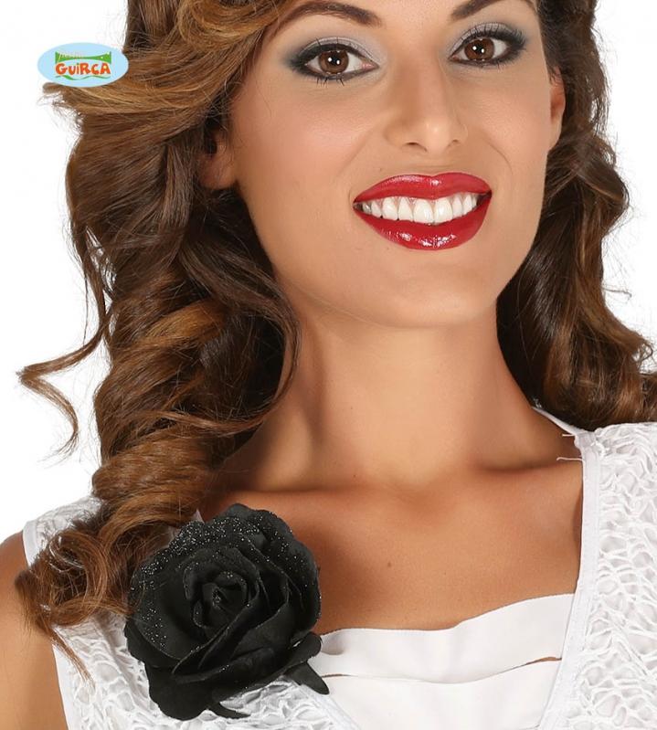 Doplňky - Ozdobná černá růže s klipem