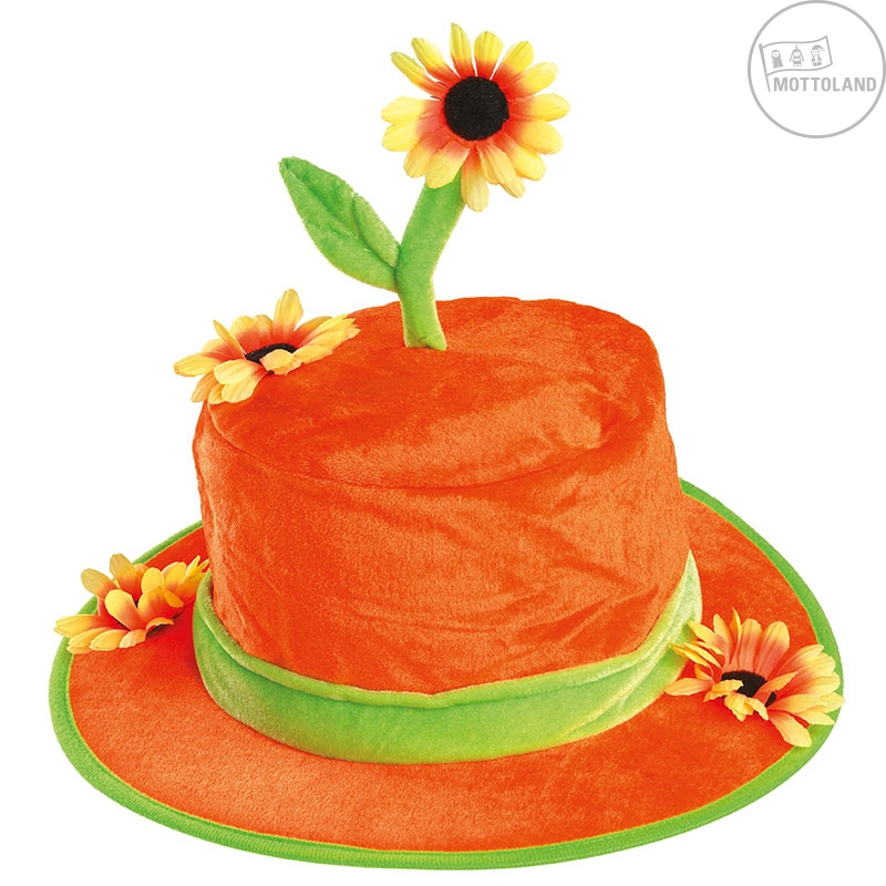 Klobouky a čepice - Oranžový klobouk se slunečnicí