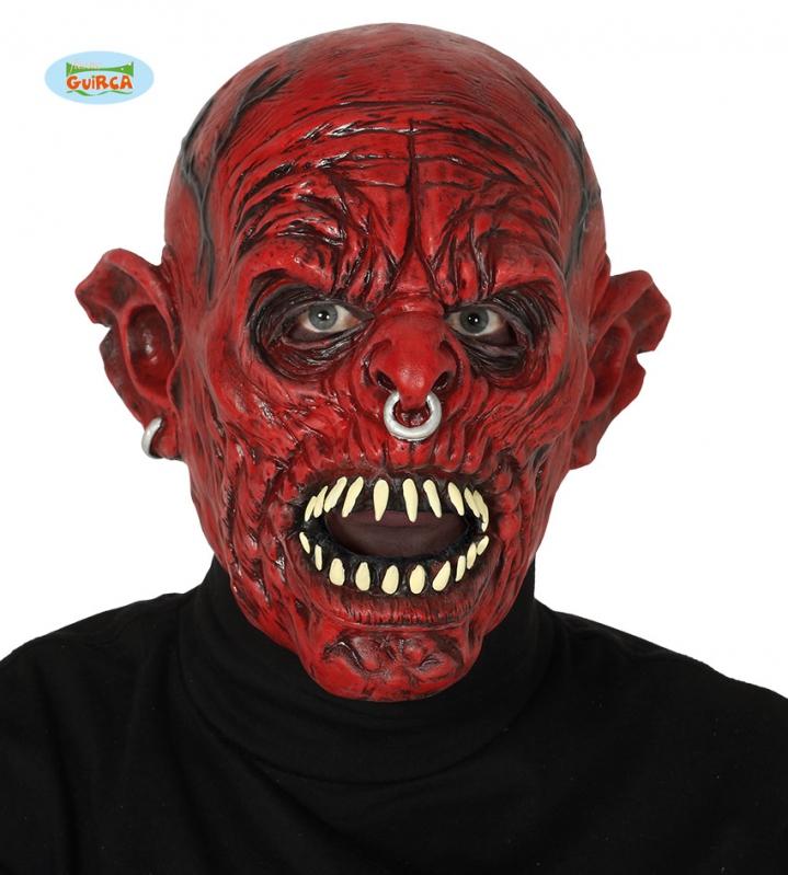 Karnevalové masky, latexové masky - Červené monstrum - maska