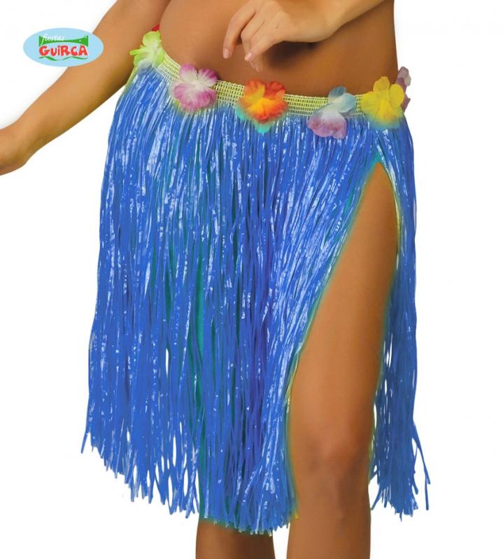 Doplňky dle zaměření - Havajská sukně s květy modrá - 45 cm