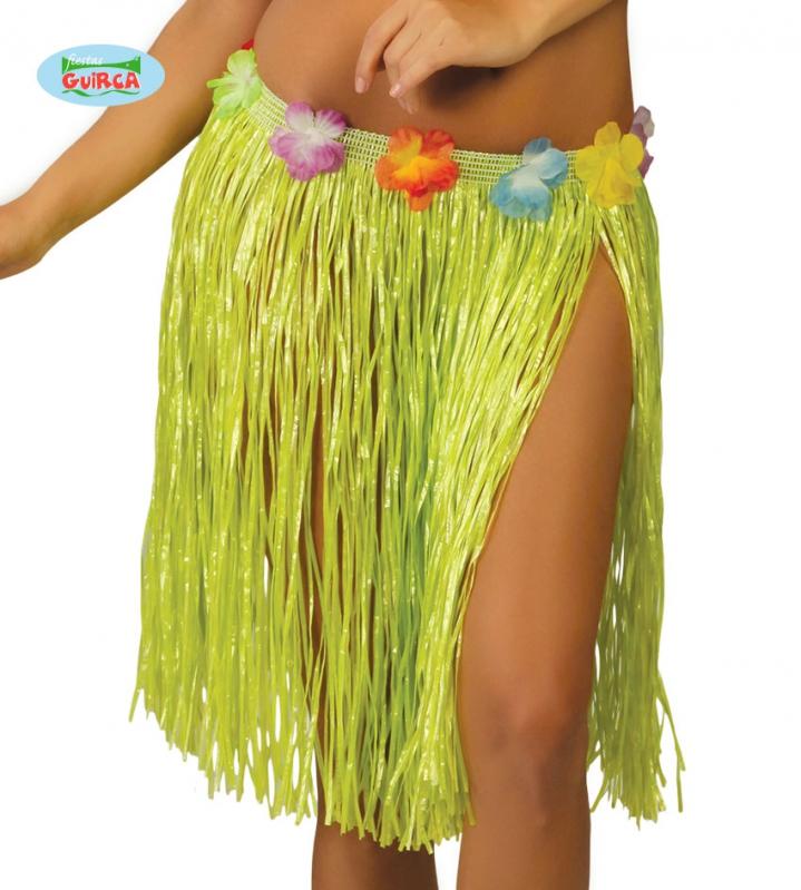 Doplňky dle zaměření - Havajská sukně s květy zelená - 45 cm