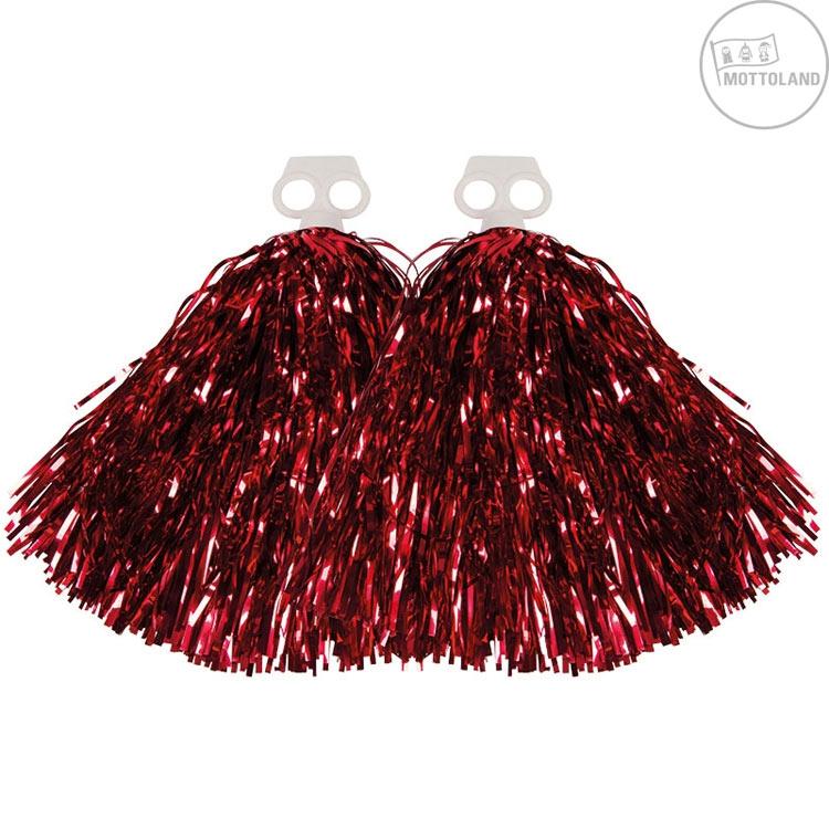 Doplňky - Pompony metalické červené - pár