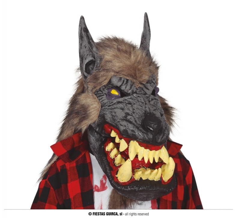 Masky - Latexová maska vlka s hřívou extra