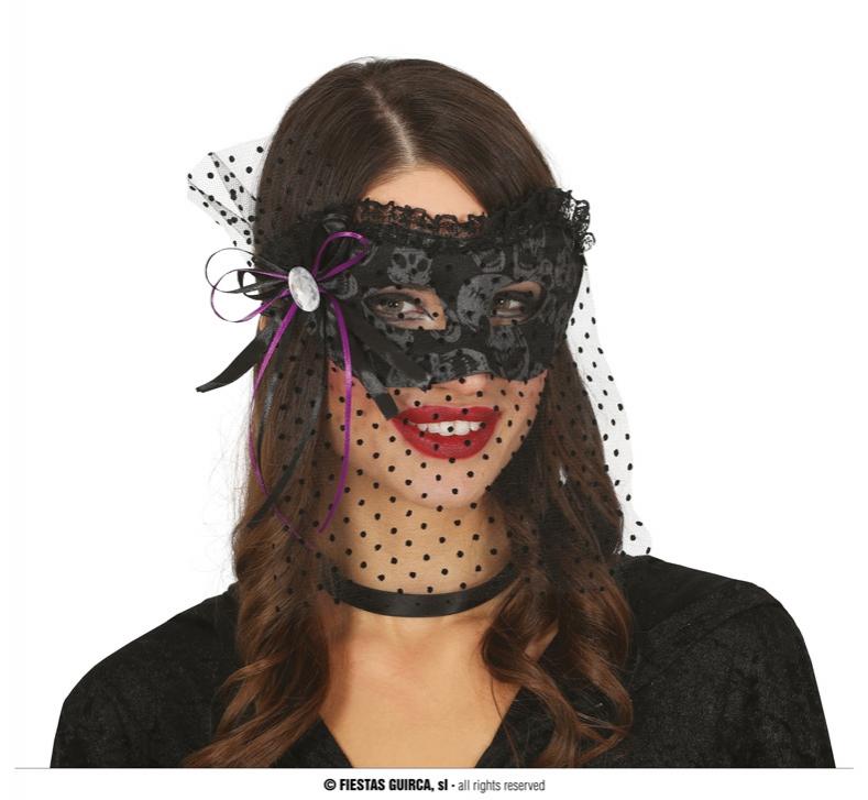 Masky - Černá naska se závojem