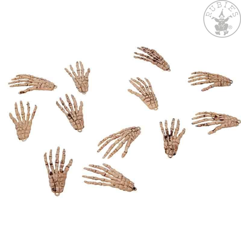 Doplňky - Ruce kostlivce 8 cm 12 ks