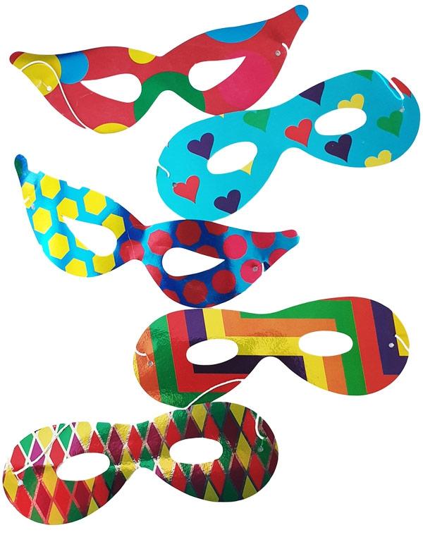 Karnevalové masky, latexové masky - Škrabošky papírové mix